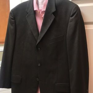 Dark chocolate brown 100% wool suit, size 42R